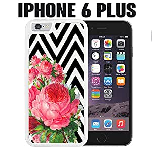 iPhone Case Flowers on Chevron for iPhone 6 PLUS Rubber White (Ships from CA)
