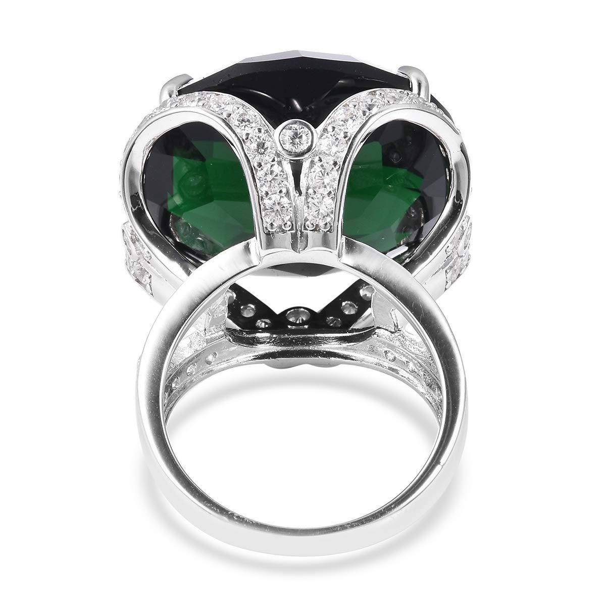 Shop LC Delivering Joy Statement Ring Green Glass White Cubic Zirconia CZ Jewelry for Women Size 6