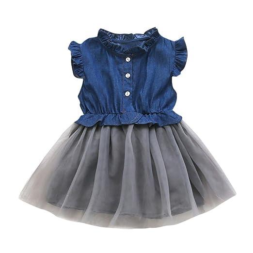 8538bbe7 Vicbovo Little Girl Dress, Summer Sleeveless Denim Dresses Princess Tutu Dresses  Clothes for Kids Toddler