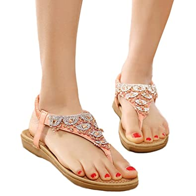 Women Bohe Fashion Flat Large Size Casual Sandals Beach Shoes