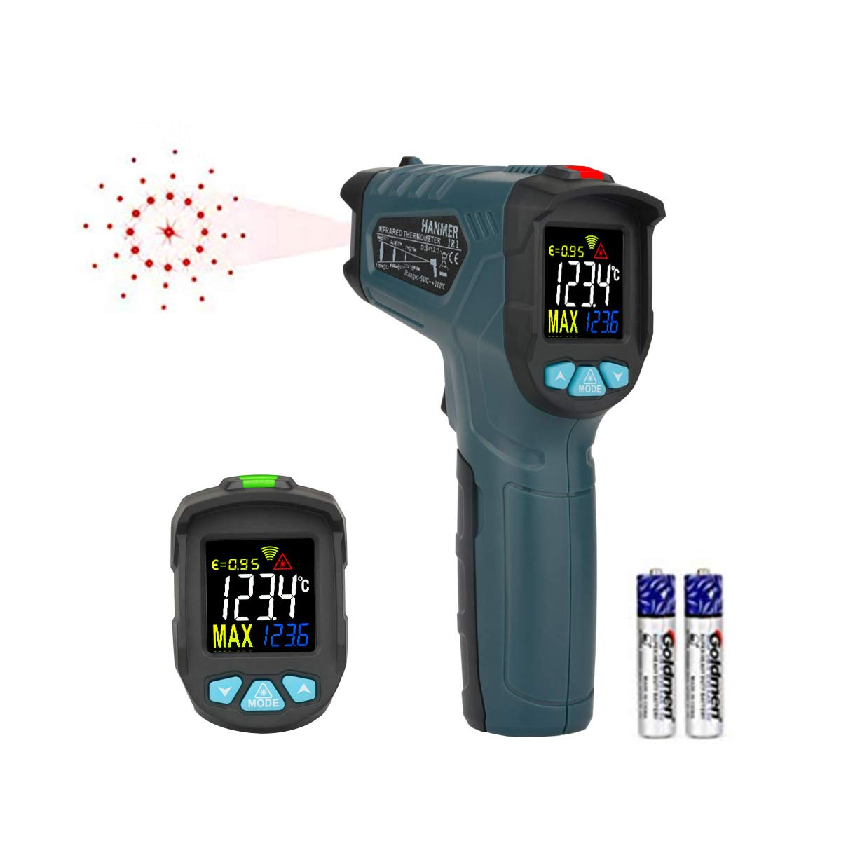 Digital Laser Infrared Thermometer Hanmer IR1 【Non-Contact Type 0.5 sec high-Speed Temperature Detection】 Color Display Non-Contact Thermometer Thermometer for Meat Refrigerator Pool Oven