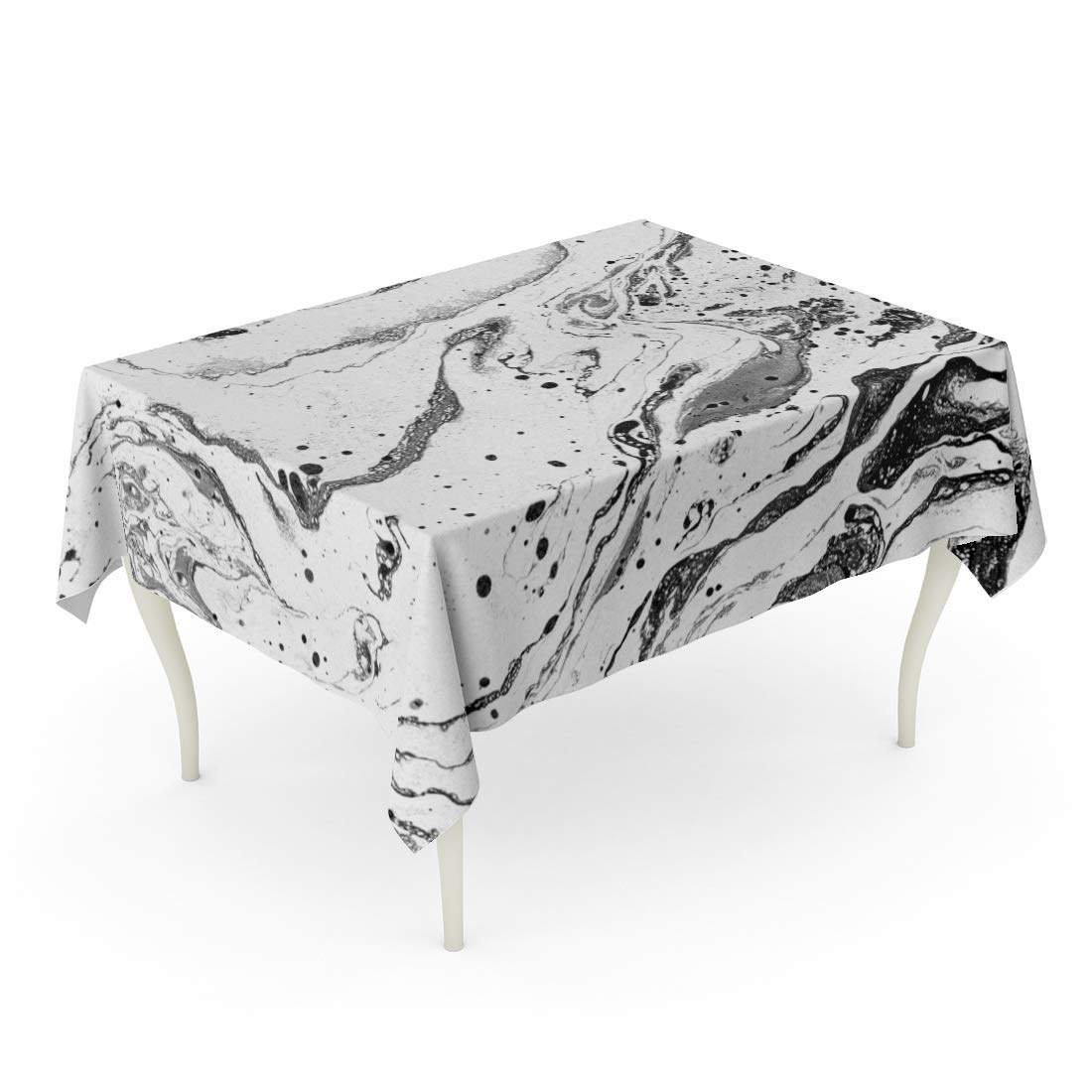 Semtomn Decorative Tablecloth Waterproof Printed Polyester Water Resistant Oil-Proof Beautiful Painting Hand for Websites Dynamic Composition Marbled Creative Black Rectangle Table Cloth 60 x 102 Inch