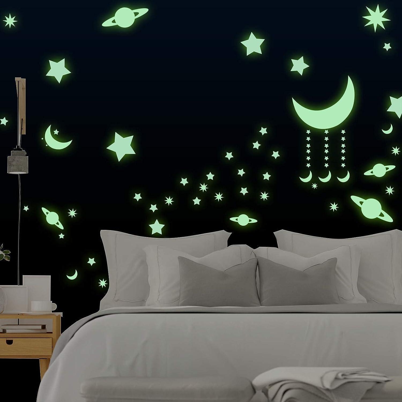 Autocollant lumineux Domserv Stickers Autocollants 262 PCS Star et Moon fluorescents Dé corations murales ou enfants