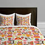 DENY Designs Valentina Ramos Cute Little Owls Duvet Cover, Twin