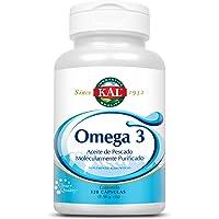 KAL Omega 3 (120 Cápsulas de gel) de aceite de pescado molecularmente purificadas, Garantía Clear quality (absorción en 30 min).