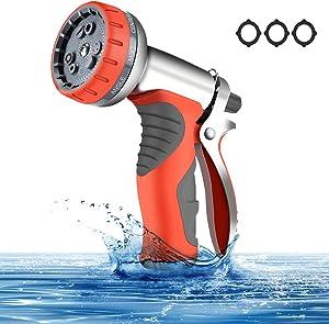 HmiL-U Garden Hose Nozzle Heavy Duty Metal Spray Gun 9 Adjustable Watering Patterns for Watering Plants Washing Cars and Showering Pets Leak Free Guarantee