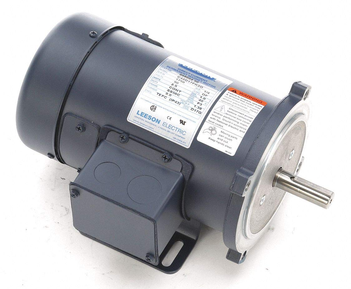 Leeson 1/4 HP DC Permanent Magnet Motor DC Permanent Magnet,1750 Nameplate RPM 90VDC Voltage 56C Frame