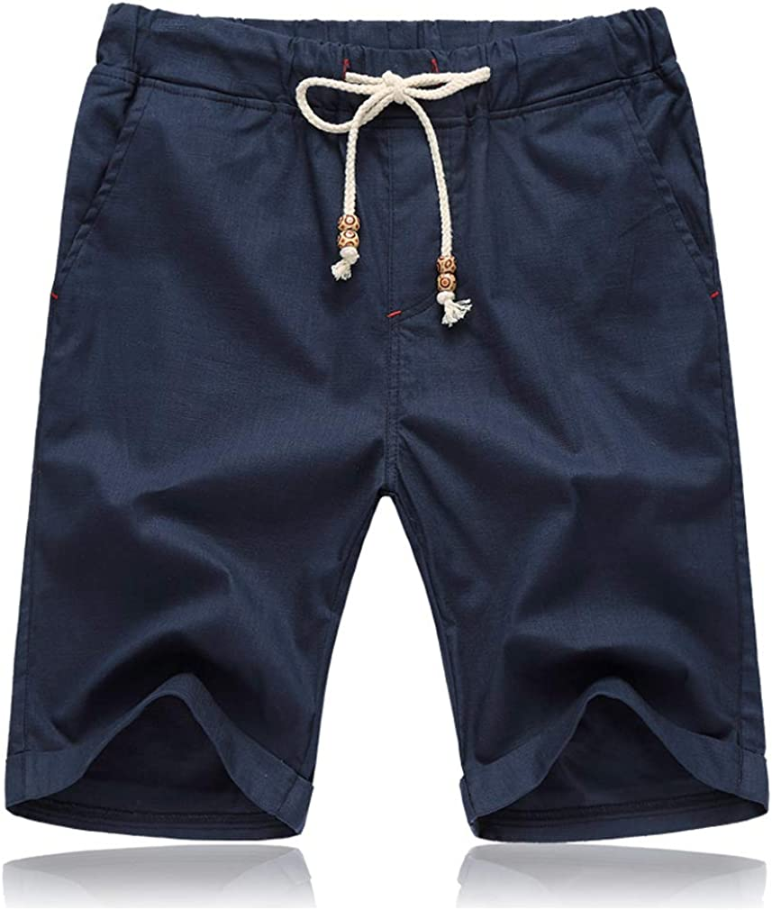 Tansozer Mens Summer Linen Shorts with Pockets Elasticated Waist
