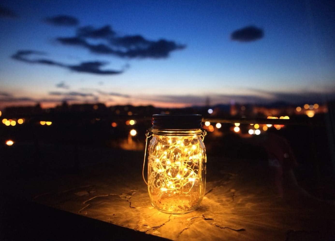 MARTHA&IVAN 30 LED Mason Jar Solar Lights,Solar Garden Ornaments Outdoor,Solar Fairy Jars,Hanging Lanterns Light,Patio Path Lights Decoration Light,Gift and Decor for Christmas,Holiday,Ceremony