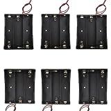 "Sackorange 6 pcs 3 x 3.7V Battery Holder,18650 Battery Storage Case Plastic Box Holder Leads with 3 Slots for 6"" Wire Leads(6 pcs 3x18650)"