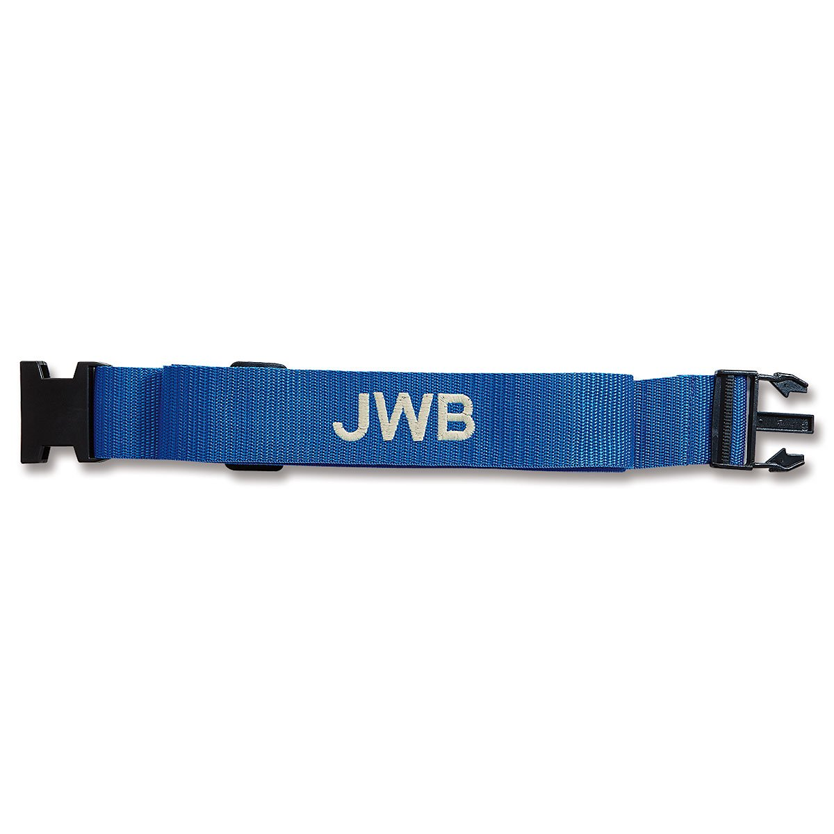 Personalized Blue Luggage Strap - 2'' W woven strap adjusts from 35'' to 64'' L