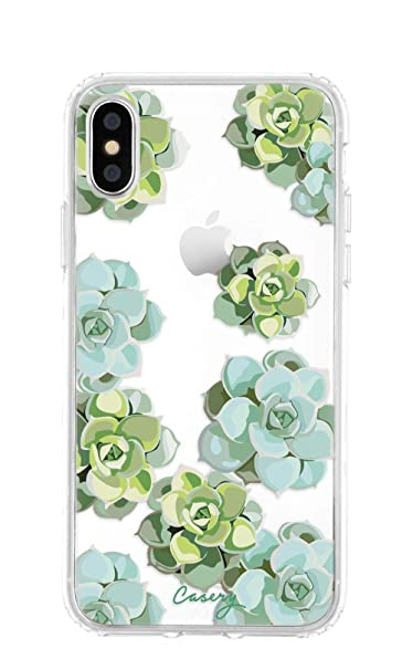 low priced 684c9 b1487 Casery iPhone X/Xs Case, Succulents (Watercolor Floral), Military Grade  Protection - Drop Tested - Protective Slim Clear Case for Apple iPhone X, XS