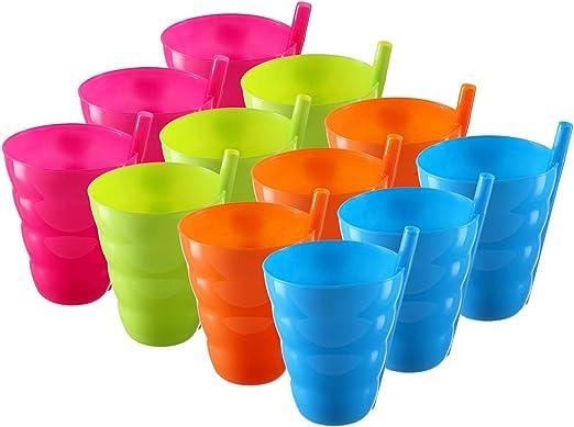 Amazon.com: Pack de 12 vasos para niños – Vasos de pajita de ...