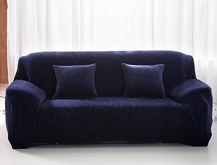 Fundas gruesas para sofás de 1, 2, 3 y 4 asientos, color puro, de terciopelo, fáciles de ajustar y de tejido elástico, azul, 2 Seater:145-185cm