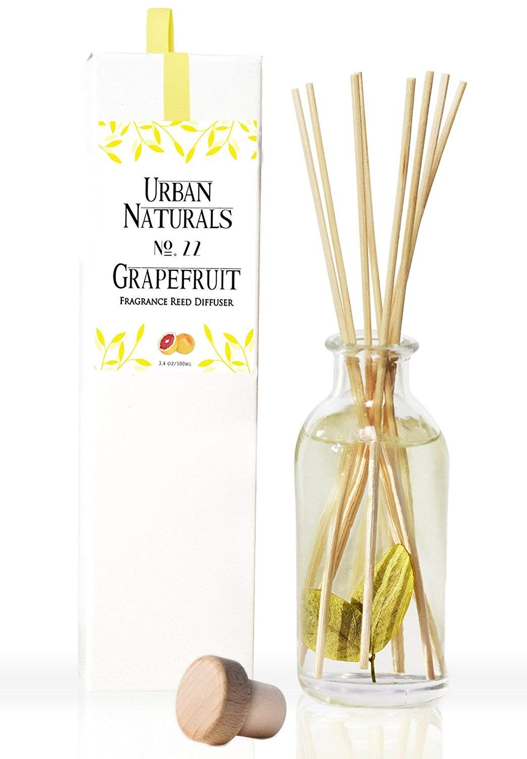 Grapefruit Scented Oil Reed Diffuser Set Fresh Citrus Fragrance Aromatherapy Oil Urban Naturals Bergamot Essential Oil & Green Nuances Great Gift Idea Made in the USA B06XX19JLL