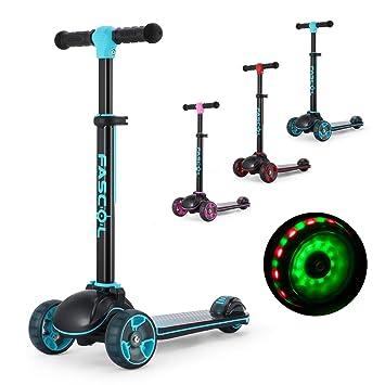Fascol Patinete 3 Ruedas con Luces LED para Niños de 3 a 12 Años, Scooter Plegable y Barra Ajustable en T, Carga Máxima 60 kg