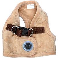 "Lanyar Lovely Heart Fleece Padded Winter Harness Vest for Pets, Small: Neck 8"" , Beige"
