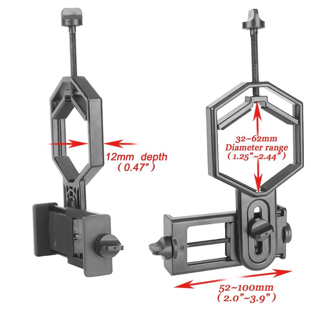 Landove Smartphone Adapter Mount for Spotting Scope Telescope Microscope Binocular Monocular - Adapter for Eyepiece Diameter 32mm to 62mm - for Phone Sony Samsung Moto Note Etc(Big Type) by Landove (Image #2)