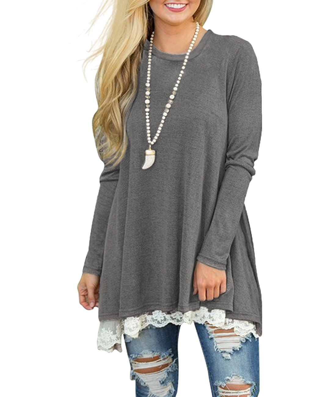 MOLERANI Women's Casual Lace Long Sleeve Tunic Top Blouse (L, New Grey)