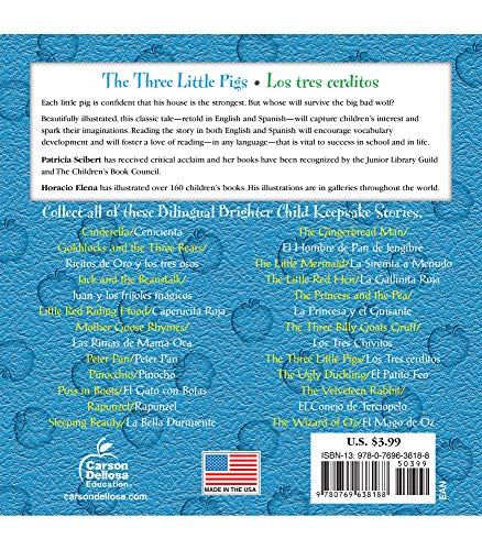 The Three Little Pigs Los Tres Cerditos Bilingual Storybook—Classic Children's Books With Illustrations for Young Readers, Keepsake Stories Collection (32 pgs)