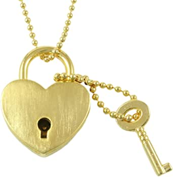 5mm Gold Soldered Rolo Chain with Matching Heart Clasp Item 1444n Padlock Necklace Working Lock 33x16mm Gold Padlock with 22x12mm Key
