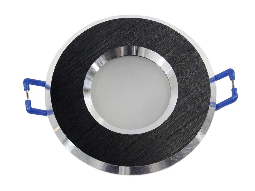 Porta faretto ad incasso impermeabile ip44 stagno luci per doccia bagno turco sauna supporto per faretti portafaretto tondo p4 (Nero) E45 Universo