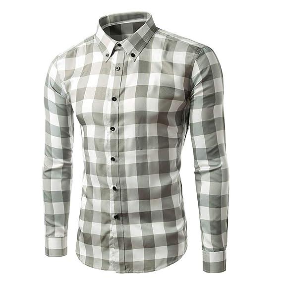 Bestow Camisa de Manga Larga Casual con Cuello en V de Manga Larga Estampado Informal Top Blusa Casual de Cuadros Escoceses: Amazon.es: Ropa y accesorios