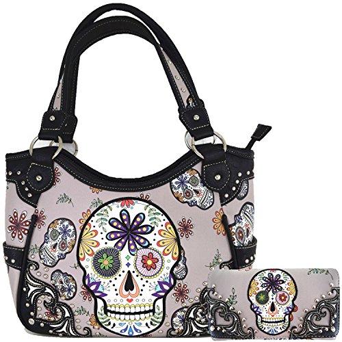 Western Concealed Carry Day of the Dead Sugar Skull Purse Handbag Messenger Shoulder Bag Wallet Set Grey
