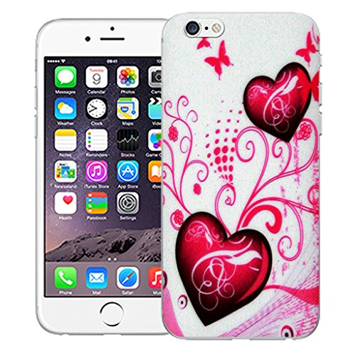 """Mobile Case Mate iPhone 6 4.7"""" Silicone Coque couverture case cover Pare-chocs + STYLET - Pink Heart pattern (SILICON)"""