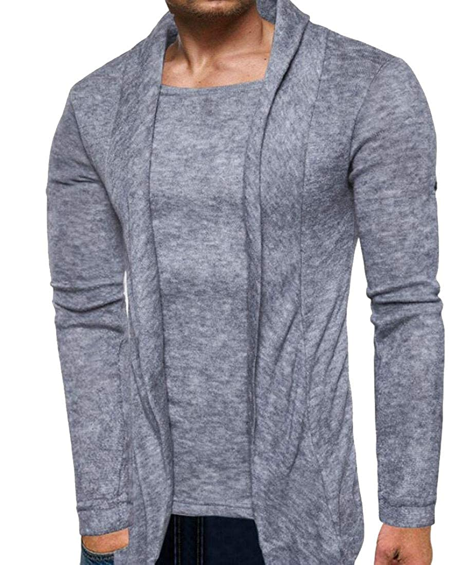 Pivaconis Mens Shawl Collar Knitted Long Sleeve Outdoor Sweater Cardigan