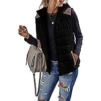 Eurivicy Women's Lightweight Padded Sherpa Fleece Reversible Vest Colorblock Zip Up Sleeveless Hooded Jacket with…