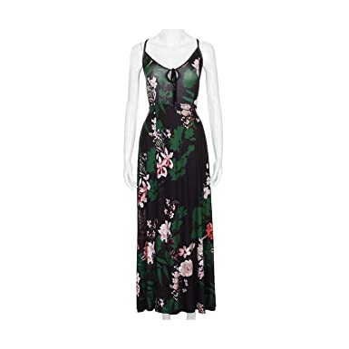 8f2b379a0c9 Split Floral Print Sexy Long Dress Women Lace Up Sleeveless V-Neck Bandage Maxi  Dress