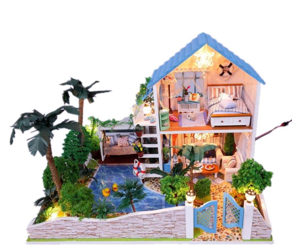 MTTLS Casa de muñecas Muñeca casa Mini casa muebles decoración casa LED artesania madera muñecas habitación obsequio Kit romántico pequeño de la yarda
