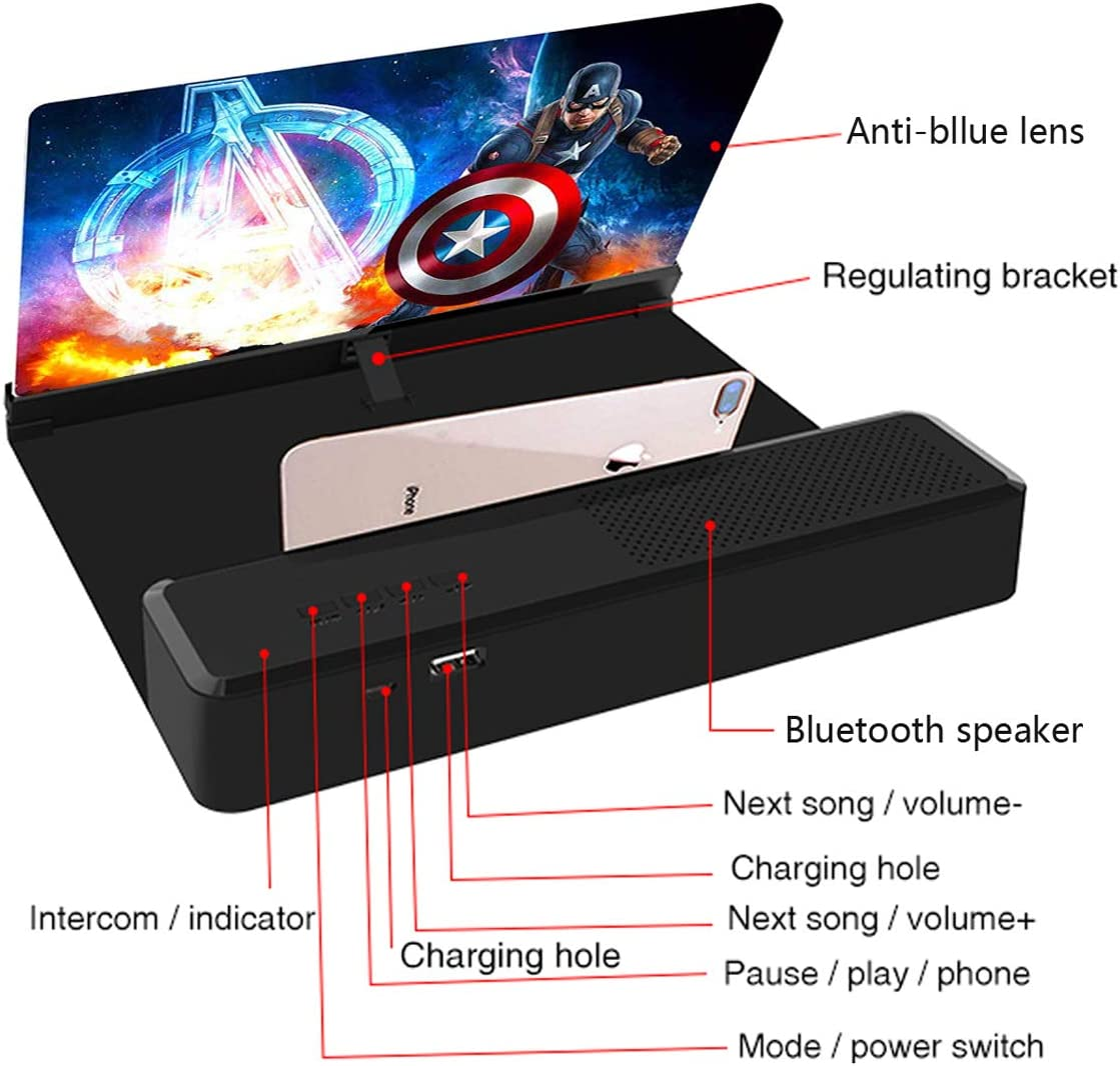 Compatible with All Smartphones Foldable Phone Stand with Laudspeaker Phone Screen Magnifier with Bluetooth Speaker Gaming Mobile Phone 3D HD Amplifier Screen Projector Enlarger for Movies
