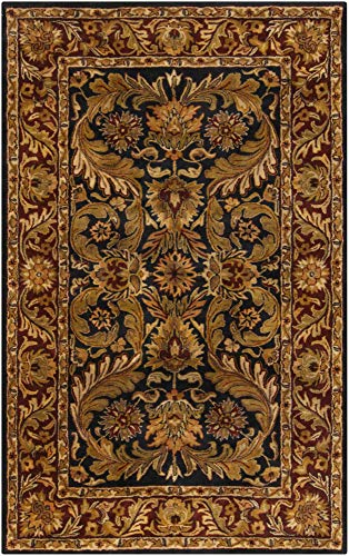 (Surya Ancient Treasures 3'3 x 5'3 Hand Tufted Wool Blue Red Rug)