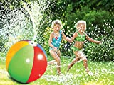 Fannel Splash and Spray Ball, 30in-Diameter Inflatable Sprinkler Water Ball Outdoor Fun Toy for Hot Summer Swimming Party Beach Pool Play (Colorful one) (Colorful two)
