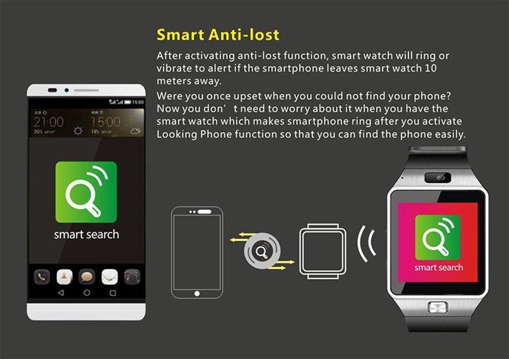 Padgene dz09 Reloj Inteligente Bluetooth - Reloj Móvil gsm Tarjeta SIM para Samsung iPhone Android Teléfono iOS con Cámara (Negro)