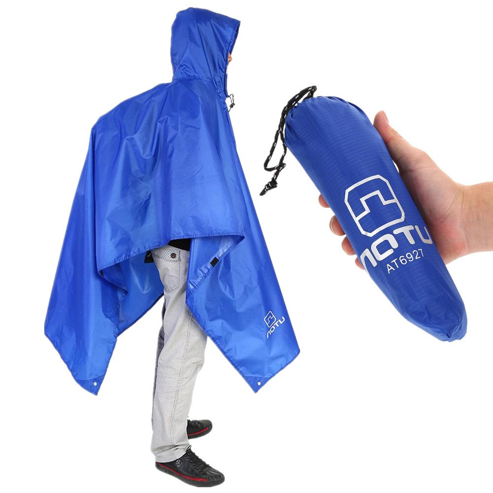 3 in 1 Multi-function Raincoat, Outdoor Packable Waterproof Rain Poncho for Climbing Hunting Camping Fishing VGEBY