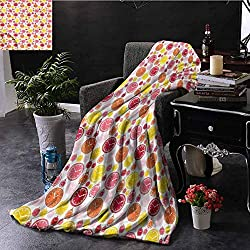 SSKJTC Clock Teal Throw Blanket Cartoon Style Colorful Motifs Bedroom Dorm Sofa Baby Cot Beach W40 xL60