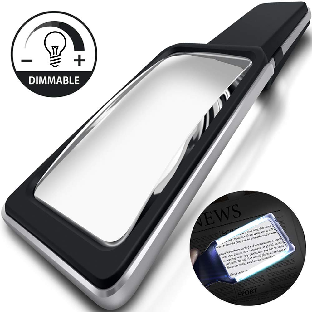 MagniPros 3X(300%) Magnifying Glass with [10 Anti-Glare & Dimmable LEDs] Provides Evenly Lit Viewing Area-Brightest & Best Reading Magnifier for Small Prints, Low Vision Seniors, Macular Degeneration