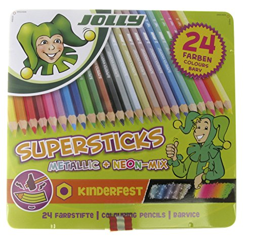 Jolly Supersticks Premium European Metallic and Neon Colored Pencils with Tin Carrying Case; Set of 24; Perfect for Adult and Kids Coloring