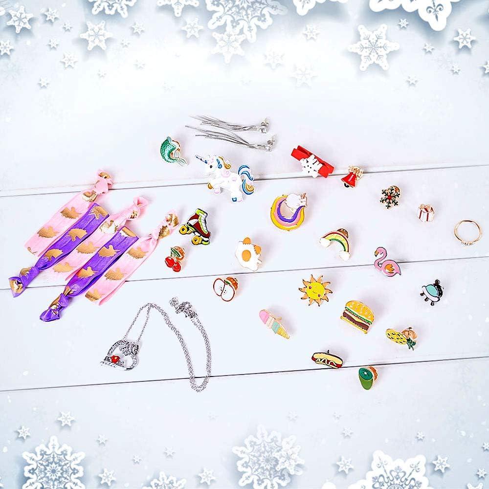 MJARTORIA 2020 Calendrier de lAvent avec 24PCS Ensembles de Bijoux Cadeau Creatif Calendrier de No/ël pour Enfant Famille Jeux