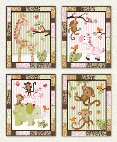 Little Jungle Jilly - Pink and Green Jungle Animal Nursery Art Prints (8