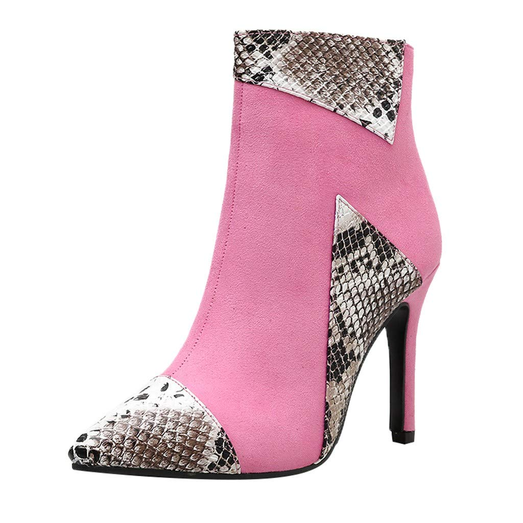 YANG-YI High Heels Ankle Boots for Women Sexy Mix-Colored Pointed Toe Stiletto Heel Casual Booties Pink