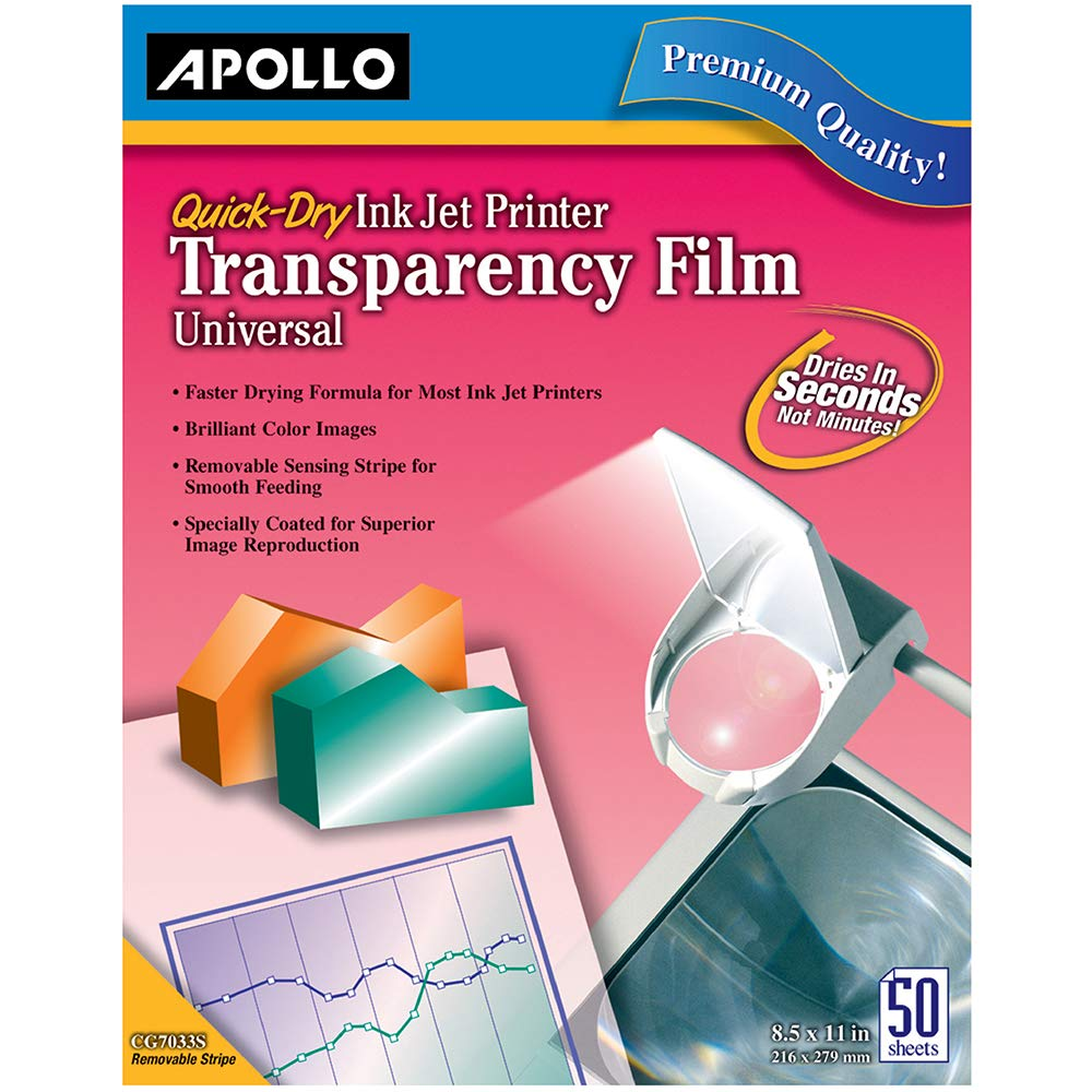 Apollo Transparency Film for Inkjet Printers, Universal, Quick Dry, 50 Sheets/Pack (VCG7033S) by Apollo