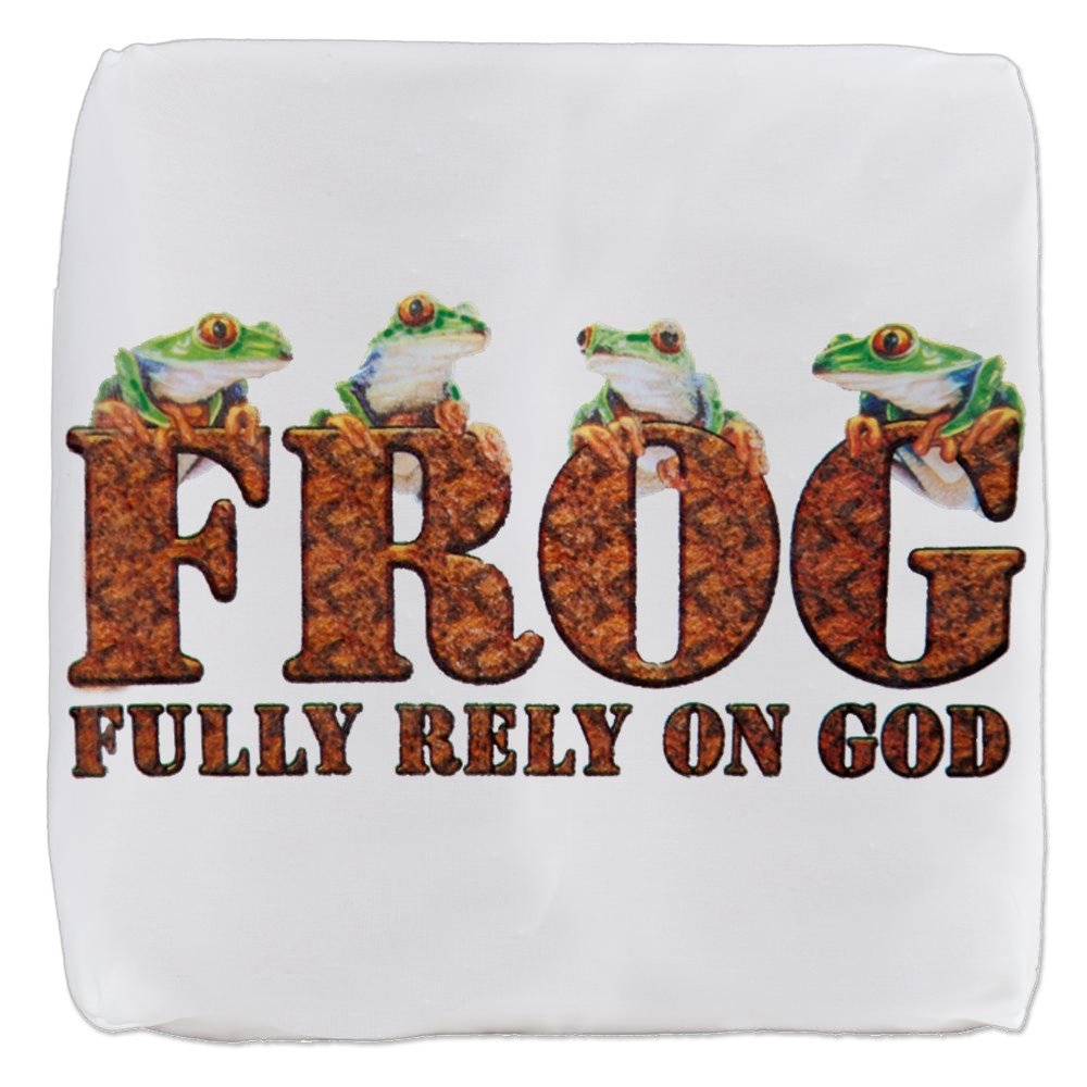 18 Inch 6-Sided Cube Ottoman FROG Fully Rely On God by Royal Lion
