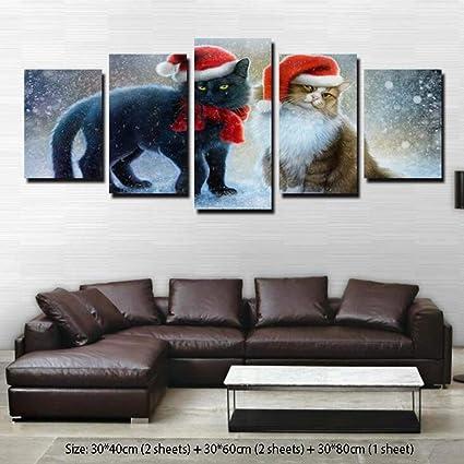 9e406347 Amazon.com: WM Wall Art Decorative Painting Picture Frame Five Cats ...