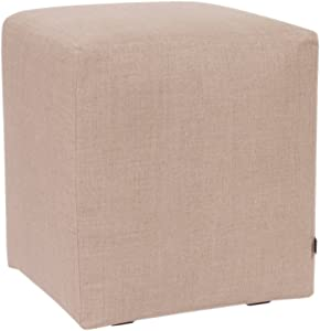 Howard Elliott Universal Cube Ottoman With-Slipcover, Linen Slub Natural