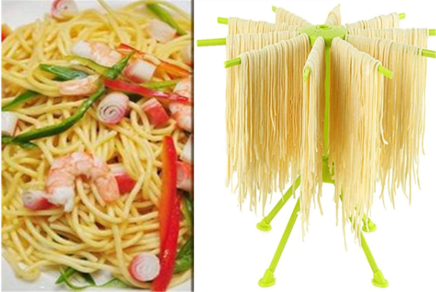 Fresh Homemade Pasta Rack Collapsible Drying Holder with Large Space for Spaghetti Linguine Tagliatelle Noodles