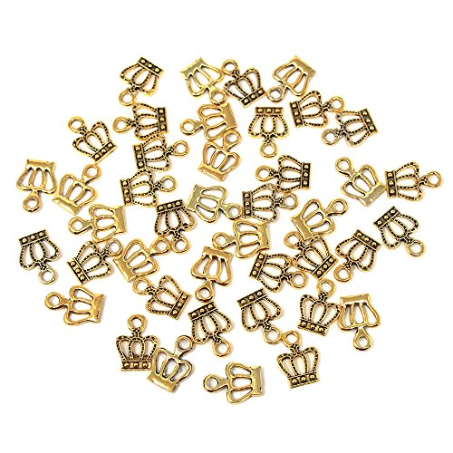 (Homeford Small Royal Crown Metal Charms, 5/8-Inch, 35-Count (Gold))